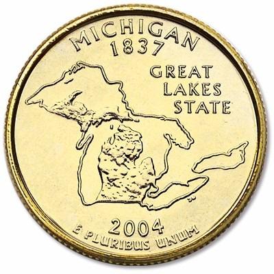 quarter dolar banhada a ouro 24k 2004 michigan fc (ref 1064)