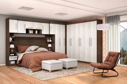 quarto com armário guarda roupa modulado casal 6 pçs poliman