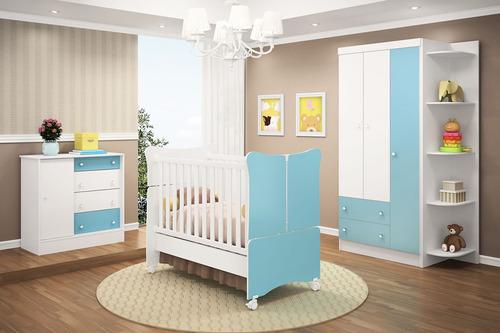 quarto de bebê completo doce magia branco/azul lojix - qmovi