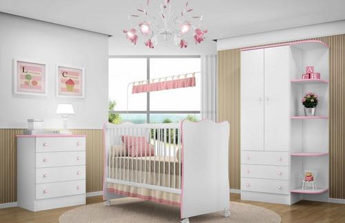 quarto de bebê completo doce sonho branco/rosa lojix - qmovi