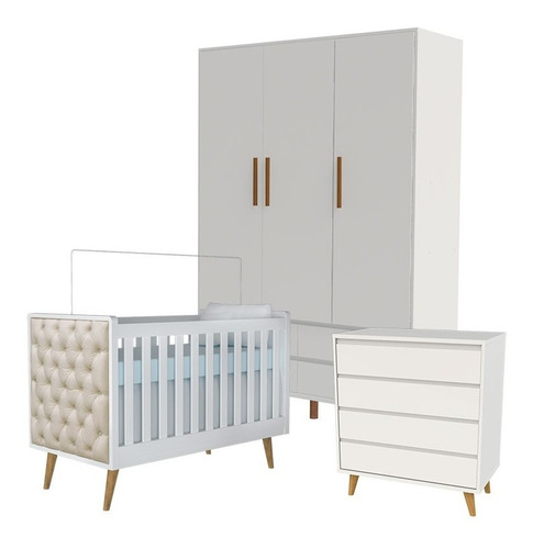 quarto de bebê lorena 3p branco amadeirado carolina