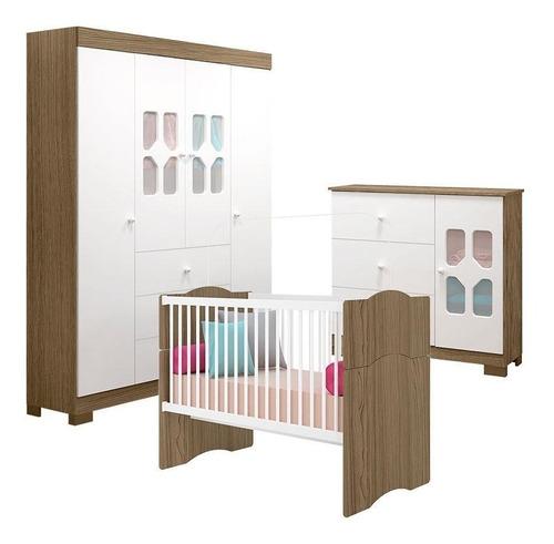quarto de bebê new cristal 4 pts berço alegria branco wengue