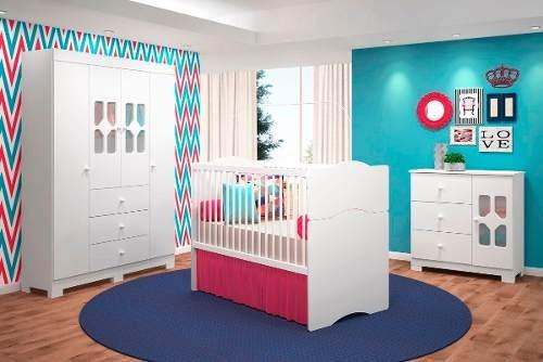 quarto de bebê new cristal 4p berço alegria branco - canaã