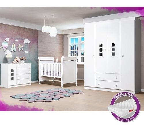 quarto de bebê roupeiro + cômoda livia + berço 251+ colchão