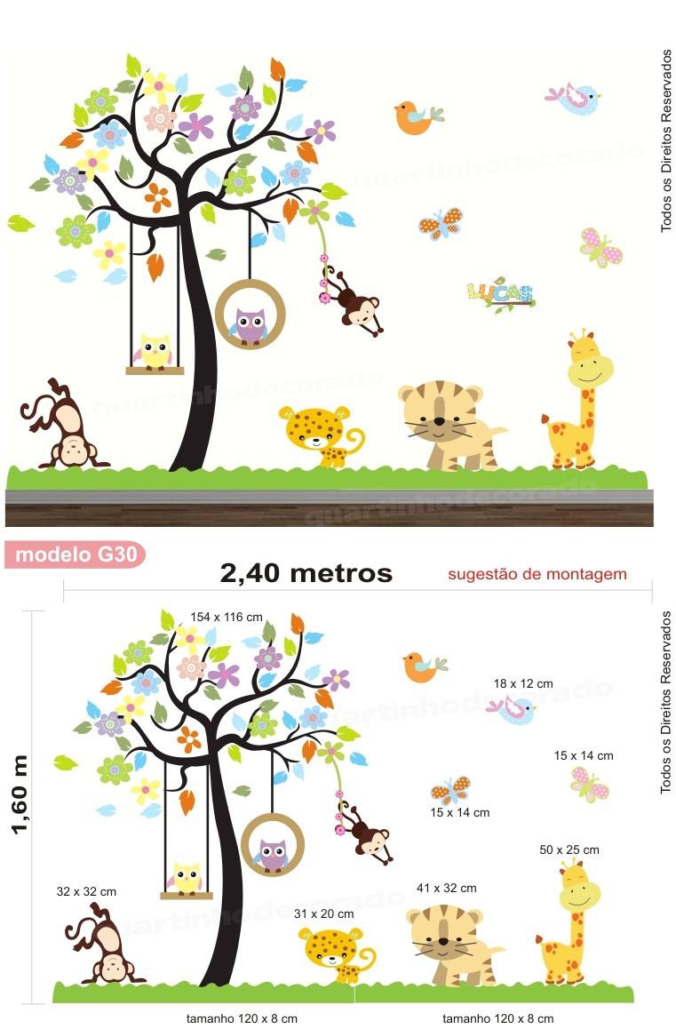 Adesivo Quarto Infantil Papel Parede Arvore Animais Zoo Bebe R  ~ Paredes De Gesso Para Quarto E Quarto De Bebe Floresta