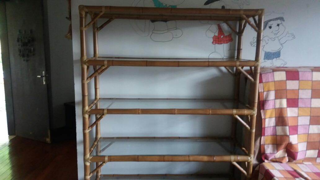 Estante De Vidro Temperado : Quatro estantes de bambu com vidro temperado r  em
