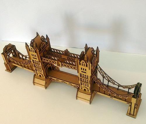 quebra cabeça 3d - coleção monumentos - ponte de londres mdf