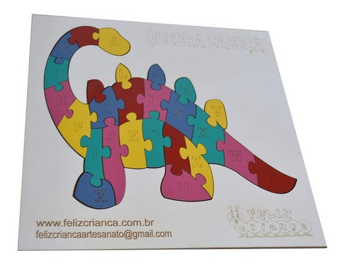 quebra cabeça dinossauro alfabeto mdf