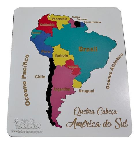 quebra cabeça educativo mapa america do sul mdf