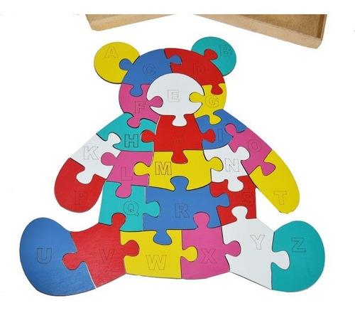 quebra cabeça educativo urso alfabeto mdf