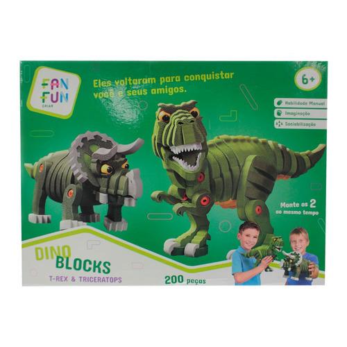 quebra-cabeça em e.v.a - dinossauros - 200 peças - fanfun