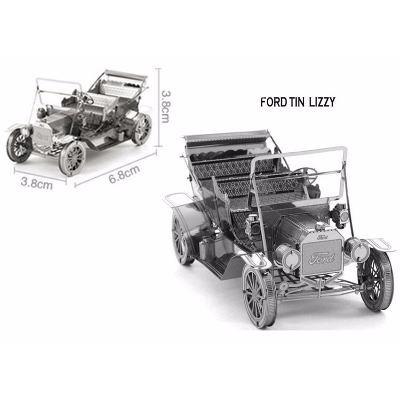 quebra-cabeça ford carro + taxi 3d metal model + base led