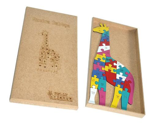 quebra cabeça girafa alfabeto em mdf