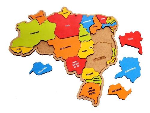 quebra cabeça infantil pedagógico mapa do brasil em madeira