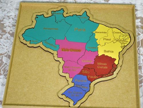 quebra cabeça mapa do brasil mdf c/ caixa