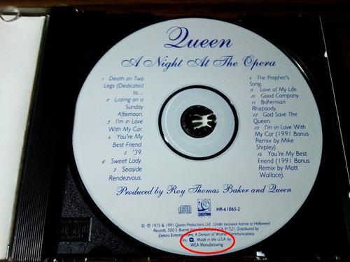 queen a night at the opera remasterizado made in usa + bonus