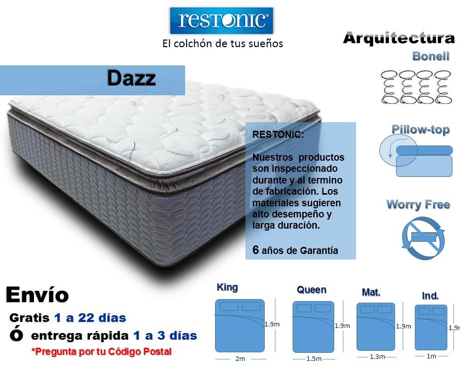 Colch n para cama queen size dazz env o gratis restonic for Cuanto mide una cama queen size