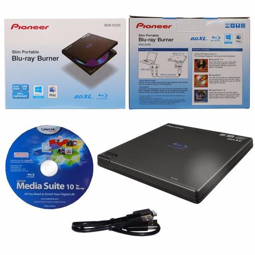 quemador bluray dvd cd pioneer bdr-xd05b externo usb 2 y 3