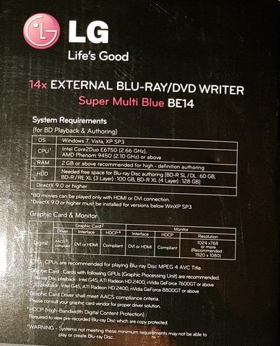 quemador de bluray externo lg 14x usb 3.0