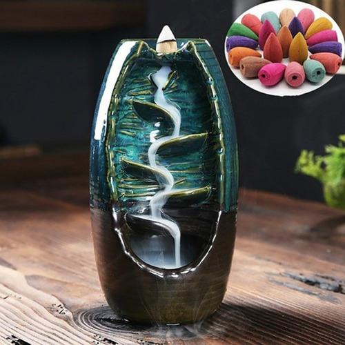 quemador de cerámica cascada reflujo quemador de incienso de