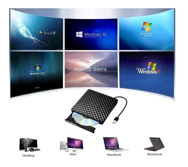 Quemador Grabador Externo Pc Laptop Lector Cds Dvds 8x Usb
