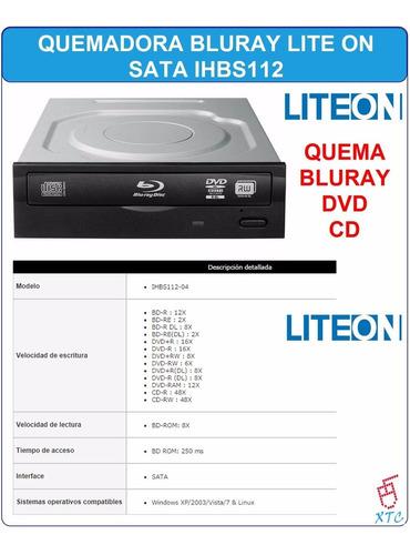 quemadora blu-ray dvd cd lite on ihbs-112 12x soporta 3d xtc