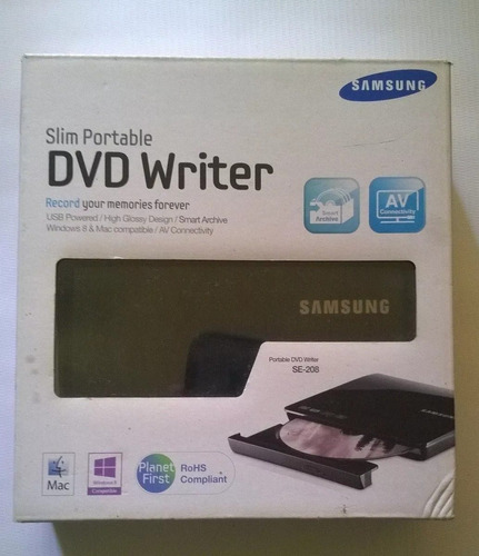 quemadora cd/dvd externa samsung se-208db slim portatil usb