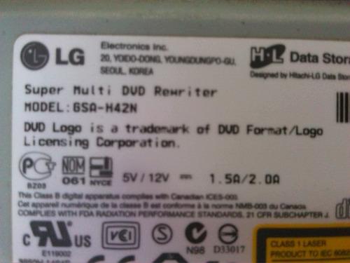 quemador/reproductor dvd+r dl/cd   lg gsa-h42n