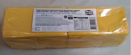queso cheddar en fetas sin tacc milkaut precio x kilo