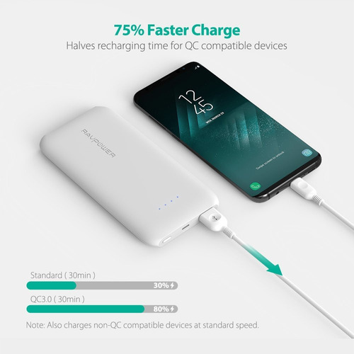 quick charge 3.0 ravpower 10000mah cargador portátil con qc