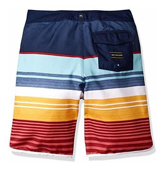 QUIKSILVER Boys Big Eye Scallop Youth 18 Swim Trunk Boardshorts