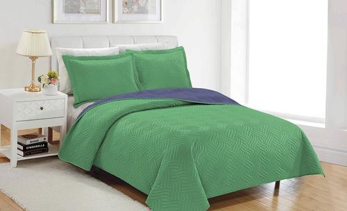 quilt colores / bicolor mashini  queen 2 plazas  reversible