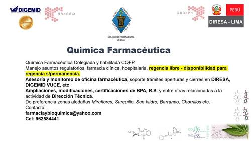 quimica farmaceutica regencia s/permanencia