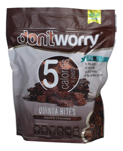 quinoa bites con chocolate dont worry 350g botana sin azúcar