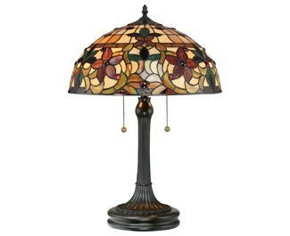 quoizel tf878t kami 2 luz tiffany lámpara de mesa, bronce...