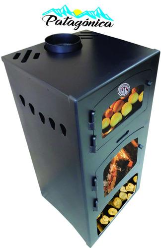 qutral, estufa a leña patagónica 9000 c/horno + kit techo ga