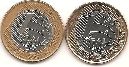 r4 - 2 moeda comemorativas 1 real - 40/50 anos banco central
