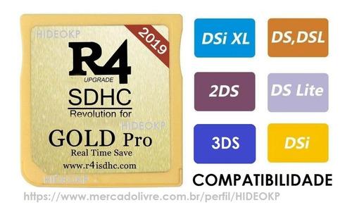 r4 card gold 2019 compatível nintendo ds lite, dsi, 2ds, 3ds
