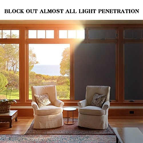 rabbitgoo blackout window film privacy window cling dark win