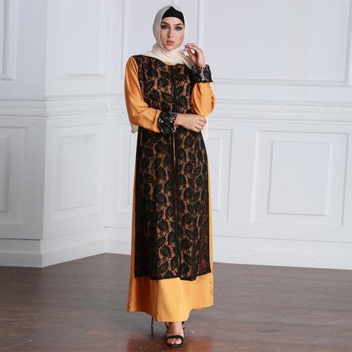 rabe islmica robe maxi vestido largo amarillo