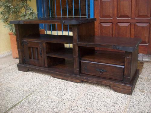 rack 1 pta,1 cajon y estantes madera maciza rustico artesana