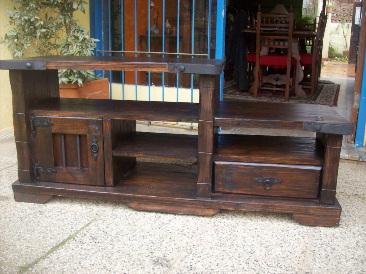 Rack 1 pta 1 cajon y estantes madera maciza rustico - Ver muebles rusticos ...