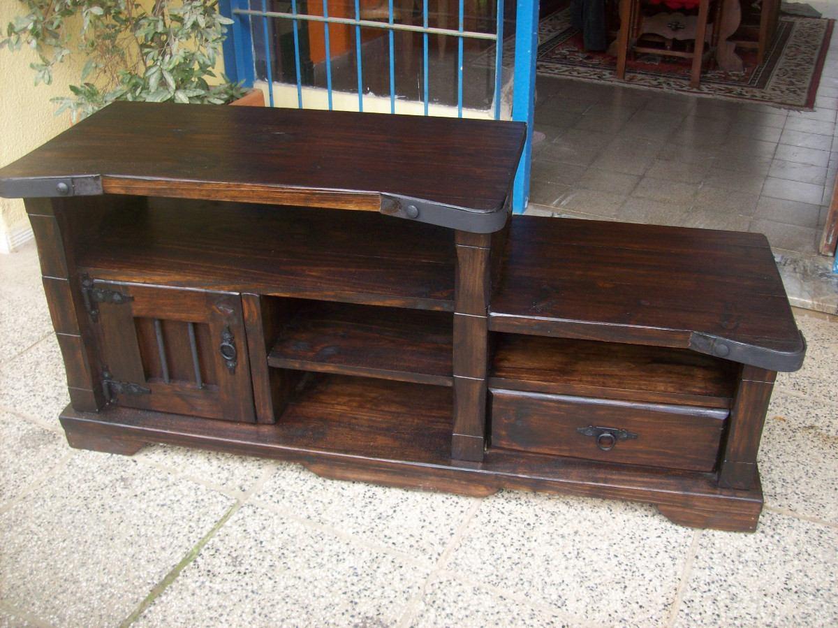 Rack 1 pta 1 cajon y estantes madera maciza rustico for Muebles rusticos de madera