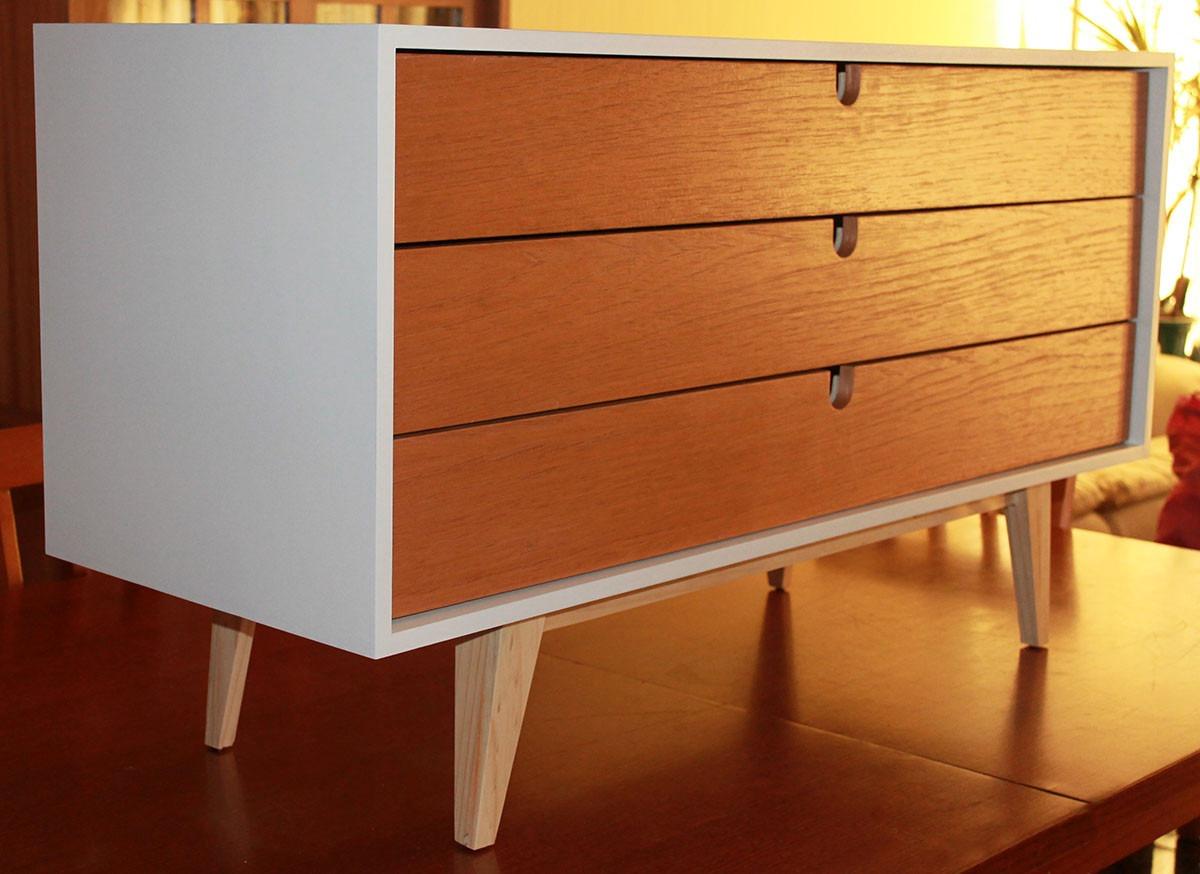Rack aparador retro blanco coigue mueble ebacam for Muebles vintage