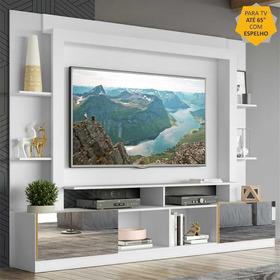 Rack C/ Painel Tv 65  Portas C/ Espelho Oslo Multimóveis