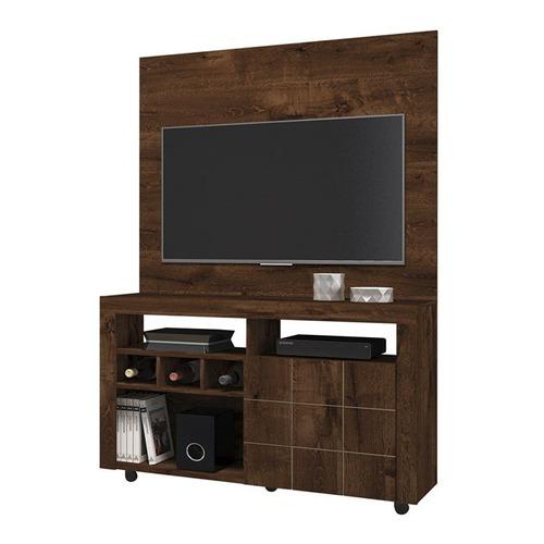 rack com painel para tv 42 polegadas américa rustico malbec