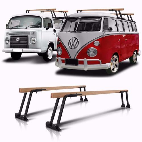 rack de teto bagageiro em madeira volkswagen kombi 1954