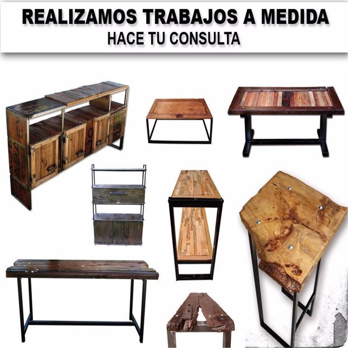 Rack de tv estilo industrial hierro y madera pallets for Mueble hierro y madera