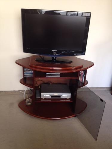 rack em mogno - mesa para tv com porta de vidro