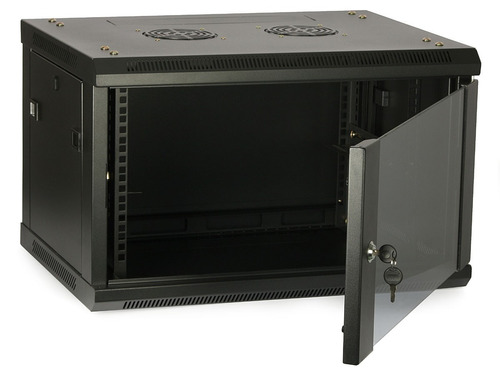 rack gabinete 9u, de pared con puerta y llave 600x450mm